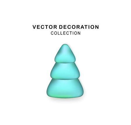 Vector Stylized Blue Christmas tree with realistic shadow. Abstract Christmas tree. Glittering icon for Xmas, New Year, Noel card. Button with metal texture for user interface, UI, application, app