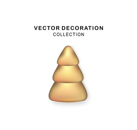 Vector Stylized Golden Christmas tree with realistic shadow. Gold Christmas tree. Glittering icon for Xmas, New Year, Noel card. Button with metal texture for user interface, UI, application, app