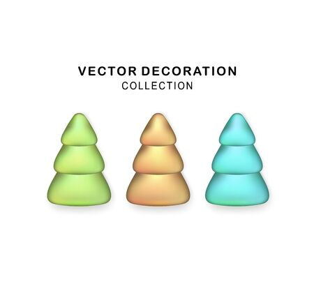 Vector Stylized Christmas trees set with realistic shadow. Christmas tree. Glittering icon for Xmas, New Year, Noel card. Button with metal texture for user interface, UI, application, app Illusztráció