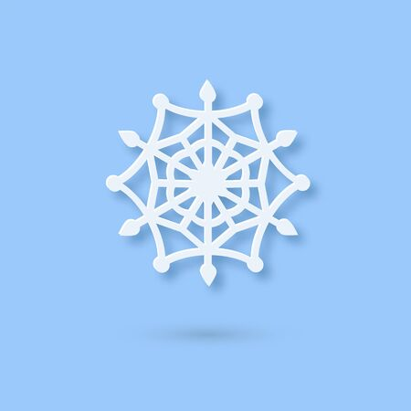 Vector Multilayered Paper Snowflake icon. Paper cut snow flake isolated on violet color cover. Weather ornate symbol. Flat style Christmas, Noel greeting Origami craft snowflake Illusztráció