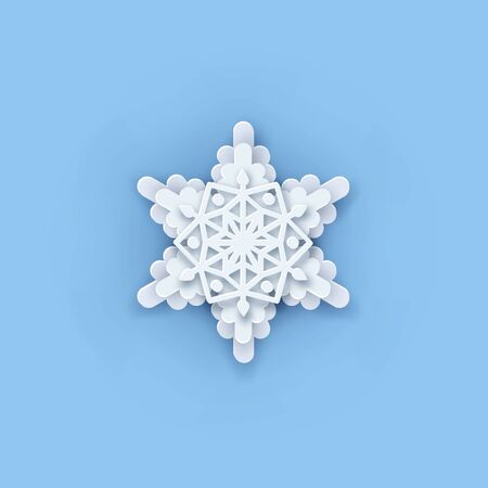 Vector layered Paper cut art Snowflake icon. Snow flake Weather ornate symbol. Flat style Christmas, Noel greeting Origami craft snowflake