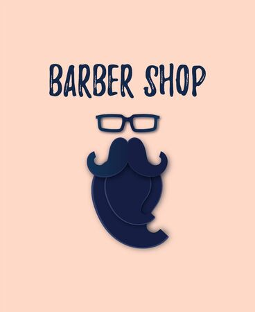 Vector Modern Barber Shop Papercut logo. Man Glasses, Mustache and Beard Silhouette isolated on pink. Layered Paper art flat style. Cute cartoon Fathers Day Card for blog, website, add