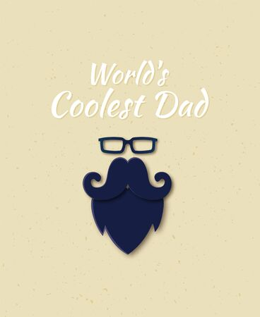 Vector Happy Father s Day Papercut greeting card. World s Coolest Dad lettering. Man Glasses, Mustache and Beard Layered Paper art flat style. Cute Father gift on your blog, website, add. Illusztráció