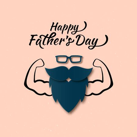 Vector Cool Happy Fathers Day Papercut greeting card with Muscular Man. Men Glasses, Mustache, Beard Layered Paper art flat style. Cute Father gift on your blog, website. Illusztráció