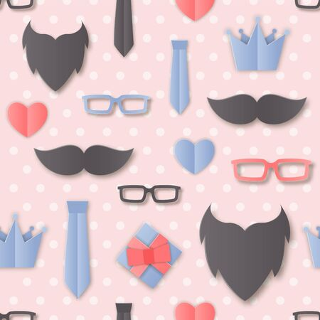 Vector Happy Fathers Day Seamless Pattern with Men Accessories: Glasses, Tie, Beard, Mustache, Layered Papercraft flat. Father, Dad layout, cover, label, gift for blog, web Illusztráció