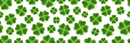 Vector San Patrick s Day pattern of 3D Clover leaves. Green Shamrock grass wallpaper. Joy flower for Irish beer festival