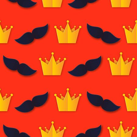 Cute Fathers Day King Seamless Paper art Pattern with Mens Accessories: Mustache, Crown flat style. Father, Super Dad fabric layout, cover, label, article. Illusztráció
