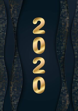 3d 2020 gold lettering. Luxury Happy New Year and Merry Christmas banner with golden glitter halftone effect. Glamour Glossy add layout for Xmas winter holidays. Papercut black waves Vector header Illusztráció