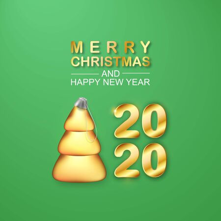 Vector 2020 Golden text. 3D Stylized Christmas Tree Ball. Merry Christmas and Happy New Year Shiny poster. Conical fir icon for Xmas Holidays. Illusztráció