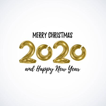 Vector 2020 hand written Gold lettering isolated on white. Shiny Merry Christmas, Happy New Year card. Font for Xmas, Noel winter holiday. Typography texture, postcard. Illusztráció