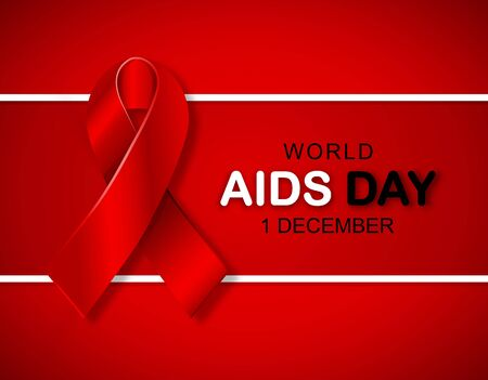 Vector Illustration of 3D Red Ribbon Awareness poster to World AIDS Day - 1 December Illusztráció