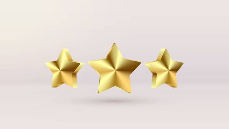 Set of Gold Ranking Stars isoalted on realistic background. Glossy yellow trophy, Christmas 3d star icon. Design elements for holidays, Game ui, award ceremony, leadership symbols. Vector EPS 10 file Illusztráció
