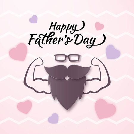 Vector Cool Happy Fathers Day banner with Muscular Man, Papercut Pink Heart. Man Glasses, Mustache, Beard Layered Paper art flat style. Father gift on your blog, web.