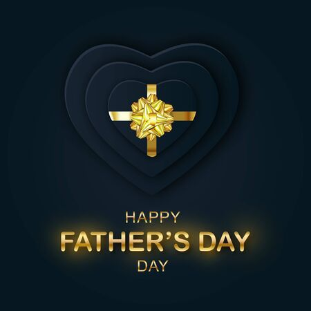 Vector Happy Fathers Day Papercut banner. Gold Lettering and paper black Hearts Illusztráció