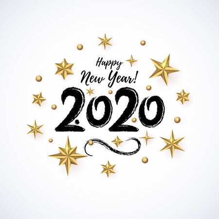 2020 hand drawn lettering with realistic Golden 3D Star.