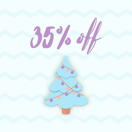 Vector Christmas SALE banner. 35% OFF discount poster. Papercut Xmas Tree and Zig Zag cover. Simple oucher, Shop Window Decal Sign, store sticker, signage, layout. Illusztráció
