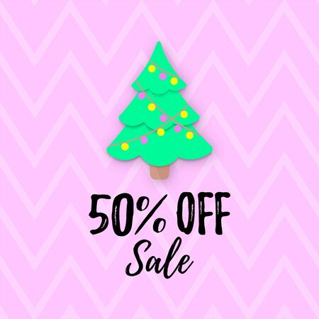 Vector Christmas SALE banner. 50% OFF discount poster. Papercut Xmas Tree and Zig Zag cover. Simple oucher, Shop Window Decal Sign, store sticker, signage, layout.