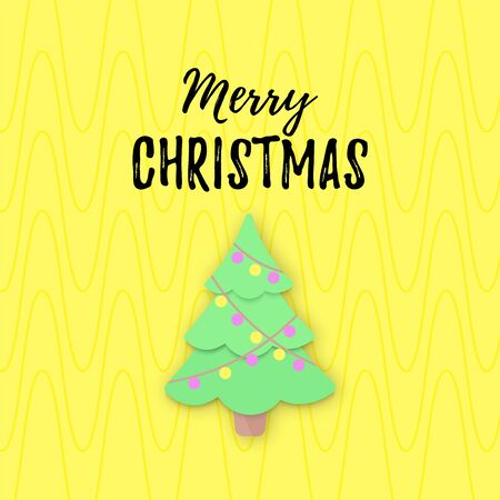Vector Merry Christmas banner with pastel papercut Christmas Tree isolated on yellow. Cute Xmas bloggers card, website poster, layout, add. Textured. Typography