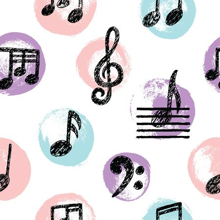 Vector Hand drawn Music Note Seamless Pattern. Sketch cartoon musician sign in childish doodle style. Pencil drawing. Musical school lessons, stickers, textile print, texture. Copybook