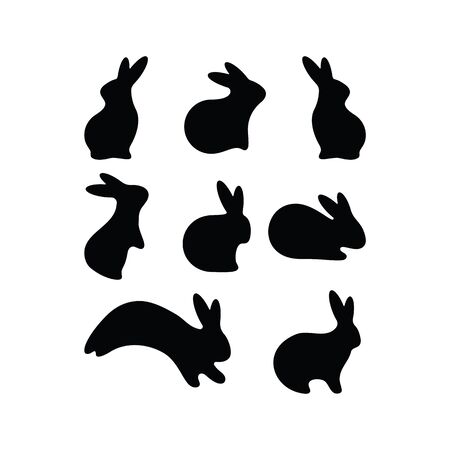 Vector Simple Easter Rabbit icon Set. Black Bunny, Hare Set. Seasonal postcard, tag, sticker. Livestock animal logotype. Flat style