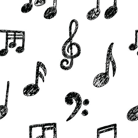 Vector Hand drawn Music Note Seamless Pattern. Sketch cartoon musician sign childish doodle style. Pencil drawing. Musical school lessons, stickers, textile print, texture. Copybook Illusztráció