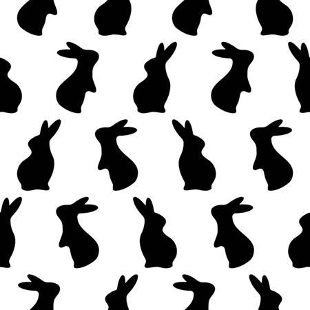 Vector Easter Rabbits Pattern. Bunny, Hare Silhouette in different positions. Baby party greeting layout, border. Textile, t shirt print