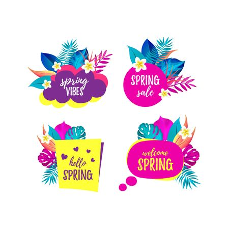 Vector set of Hello Spring, Spring Vibes, Sale, Welcome Spring cartoon speech bubbles. Tropical banners with realistic palm leaves and frangipani flowers. Exotic seasonal Speaking bubble. EPS 10 file Illusztráció