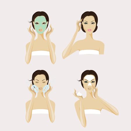 facial mask: A girl face with facial mask and makeup.