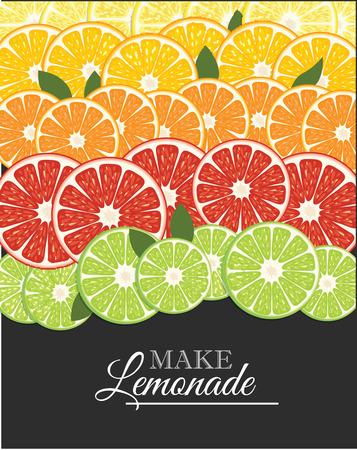 Lemon, lime and mandarin background.