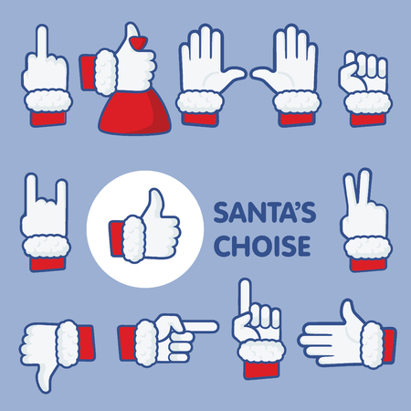 stiker: Santas choice christmas thumbs up icon set.