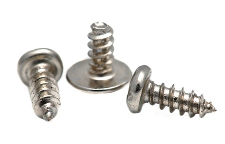 metal thread screws. Macro shot on white background Stock Photo - 12006221