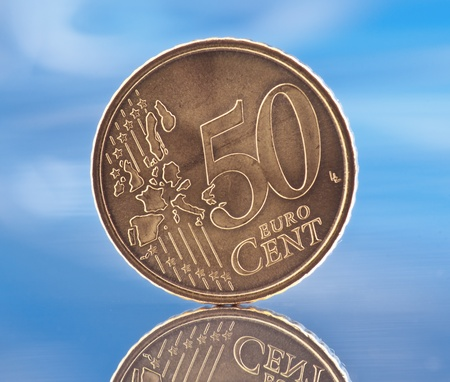 coin 50 euro cents, reflected in the base photo