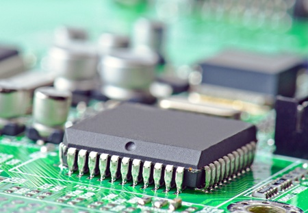 electronic chip on circuit board photo