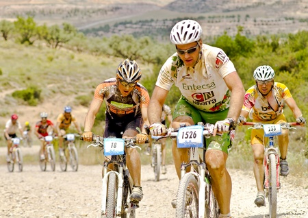 BARDENAS REALES, NAVARRA, SPAIN- JUNE 28  mountain-bike cyclists during a race through the nature reserve