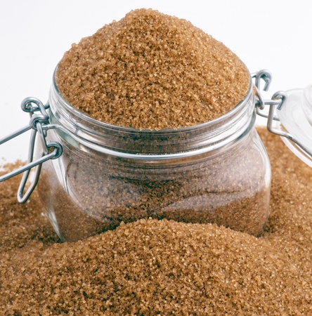 brown sugar in glass jar