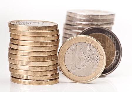 group of currencies euro and two euros a stacked Stok Fotoğraf