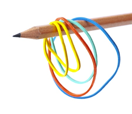 rubber bands, hanging from a pencil