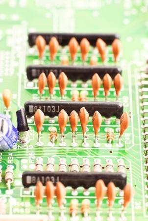 capacitors mounted on board electronics Stock Photo