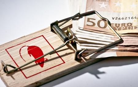 billets euros: pi�ge ferm� pris des billets de 50 euros Banque d'images