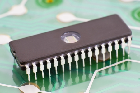 rewritable memory chip on a printed circuit board Stock Photo - 13373274