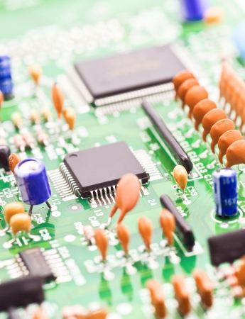 processor and other electronic components mounted on board photo