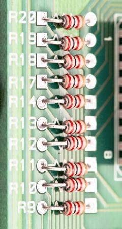 resistors: resistors mounted electronic board Stock Photo
