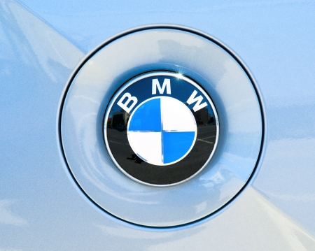 BMW symbol on the side of a sports car