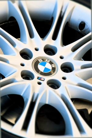 BMW symbol on the wheel of a sports car