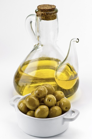 green olives, and glass oil can virgin olive oil photo