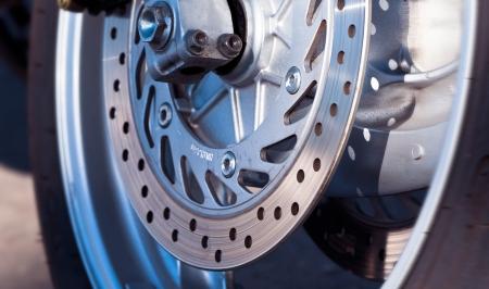 motorcycle wheel disc brake detail