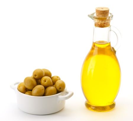 green olives, and glass oil can virgin olive oil