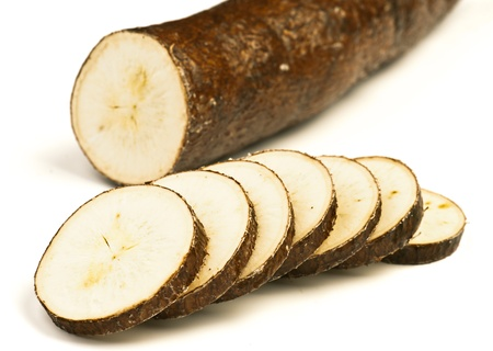 cassava: sectioned yuca isolated on white