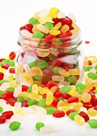 colored gums are brimming with a glass jar Stock Photo - 15035670