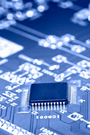 electronic chip on circuit board  abstract  Stock Photo - 15101312